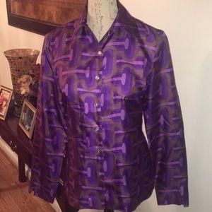 Stunning Royal Purple Silk Blouse by JULES REID